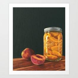 Mason Jar Peaches Art Print