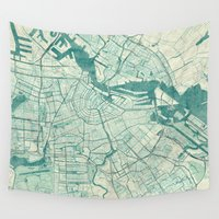 vintage map Wall Tapestries featuring Amsterdam Map Blue Vintage by City Art Posters