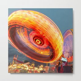 Amusement Park Ride Long Exposure Metal Print