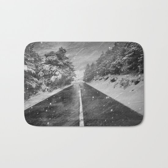 """Snowstorm in the road"" At the mountains Bath Mat"