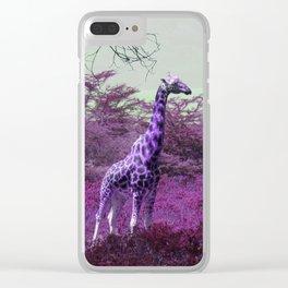 Wild Giraffe in Pink Clear iPhone Case