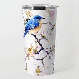 Bluebird and Dogwood, bird and flowers spring colors spring bird songbird design Travel Mug
