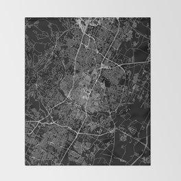 Austin Black Map Throw Blanket
