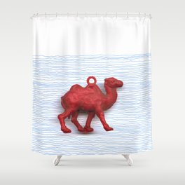 Genetically challenged camel trying to cross the blue mirage Shower Curtain