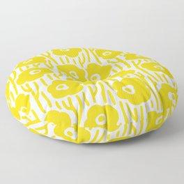 Mid Century Modern Wild Flowers Yellow Floor Pillow