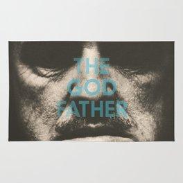 The Godfather, minimalist movie poster, Marlon Brando, Al Pacino, Francis Ford Coppola gangster film Rug