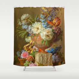 "Gerard van Spaendonck ""Flower Still-life with an Alabaster Vase"" Shower Curtain"