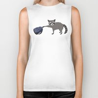 backpack Biker Tanks featuring Raccoon stole my homework by hyperactive