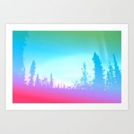 Bright Colorful Forest Art Print
