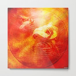 The bee and the callas Metal Print