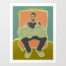 Father with Twins Art Print