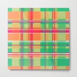 Striped 2X Green and Orange Metal Print