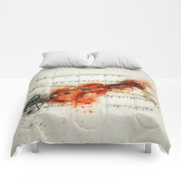 Watercolor Violin (Color) Comforters