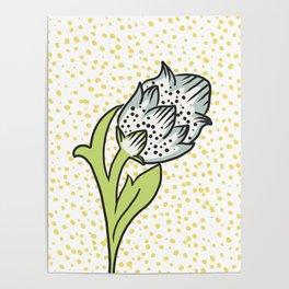 Vintage flower bud Poster