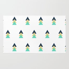 Turquoise Gold Glitter & Dark Blue Triangles Pattern Rug