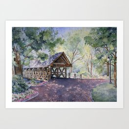Naperville Covered Bridge in Spring Art Print