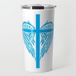 Christian cross and wings Travel Mug