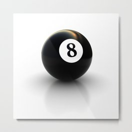black pool billiard ball number 8 Metal Print