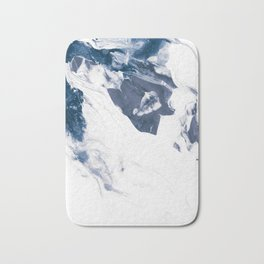 Navy Blue and White Abstract Painting Bath Mat