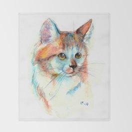 Bicolor cat portrait Throw Blanket