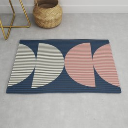 Abstraction Shapes 18 in Navy Blue Dusty Pink (Moon Phase Abstract) Rug