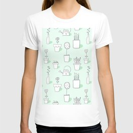 Garden Pots and Plants in Mint Green from Peppermint Creek T-shirt