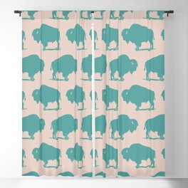 Buffalo Bison Pattern Turquoise and Beige Blackout Curtain