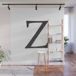 Letter Z Initial Monogram Black and White Wall Mural