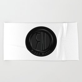 Riggo Monti Design #2 - Riggo Emblem (Wht. Bkgrnd.) Beach Towel