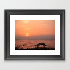 Beautiful Sunset at Cigu Bay in Southern Taiwan Framed Art Print