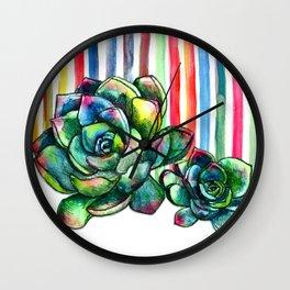 Rainbow Succulents - pencil & watercolor illustration Wall Clock