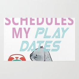My Bunny Schedules My Playdates Rug