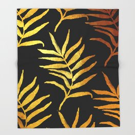 Black and gold leaf pattern V2 #society6 Throw Blanket