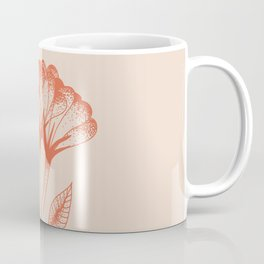 Flower duo in burnt orange inspired by tattoo style, boho chic illustration Coffee Mug