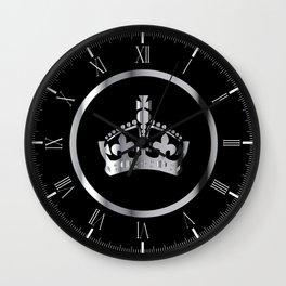 Silver Crown Emblem Wall Clock