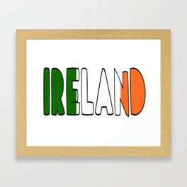 Ireland Font #2 with Irish Flag Framed Art Print