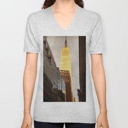 Empire State Building Facing Sun Unisex V-Neck