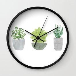 Watercolor Succulent Plants Wall Clock