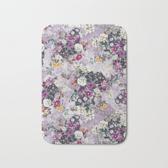 Botanical Flowers Purple Bath Mat