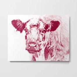 Ardnamurchan Coo - Red Metal Print