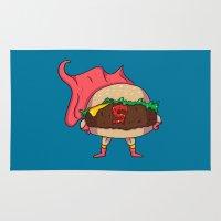 heroes Area & Throw Rugs featuring Hamburger Heroes by Chris Piascik