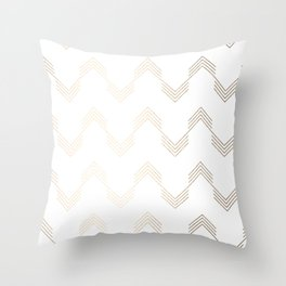 Simply Deconstructed Chevron White Gold Sands on White Throw Pillow
