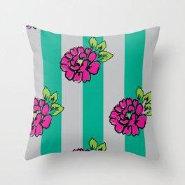 Pop Pink Flowers on Mint Stripe Pattern Throw Pillow