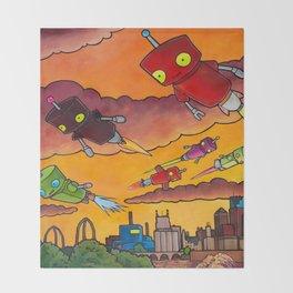 Robot - Air Traffic Throw Blanket
