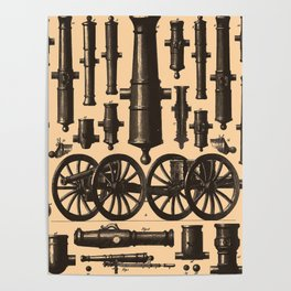 Vintage Cannon & Artillery Diagrams (1907) Poster
