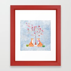 Fox love- foxes animal nature _ Watercolor illustration Framed Art Print