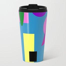 Geometry Shapes on Blue Travel Mug
