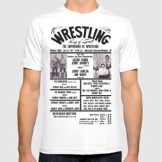 #8 Memphis Wrestling Window Card White SMALL Mens Fitted Tee