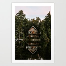 Lakeside Cabin Art Print