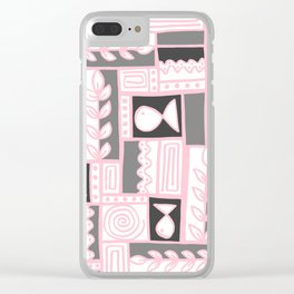 Fishes Seaweeds and Shells - Gray and Pink Clear iPhone Case